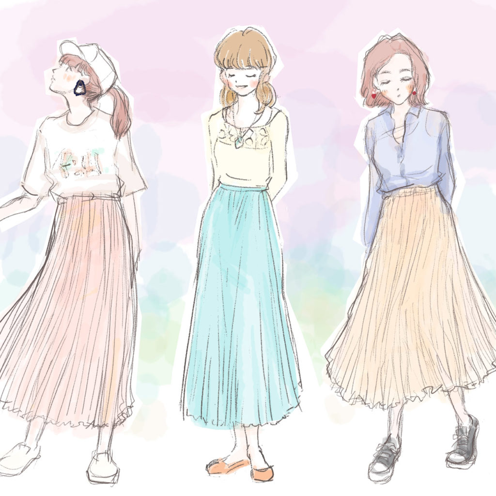 女性のファッションのイラスト