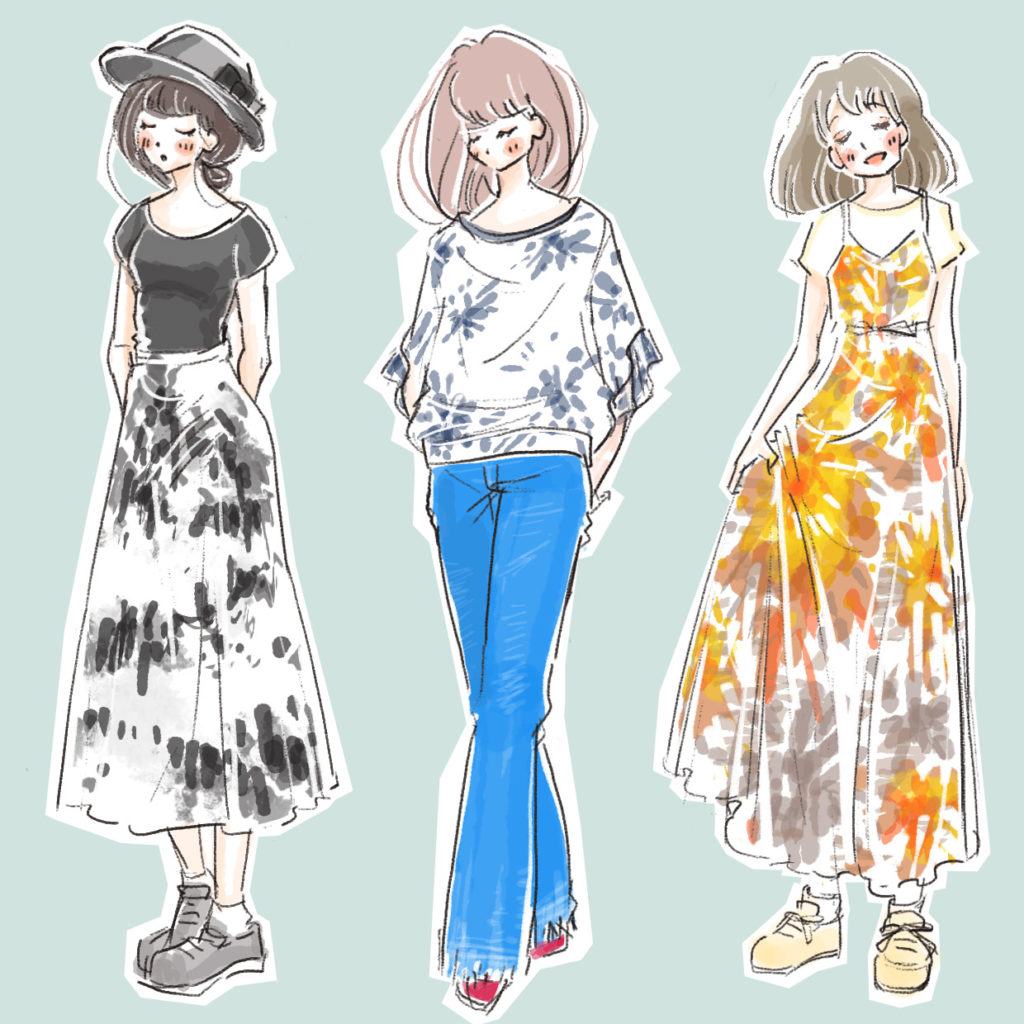 爽やか&クールなタイダイ柄のファッションのイラスト