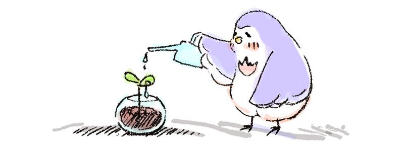 植物に水やりをするイラスト