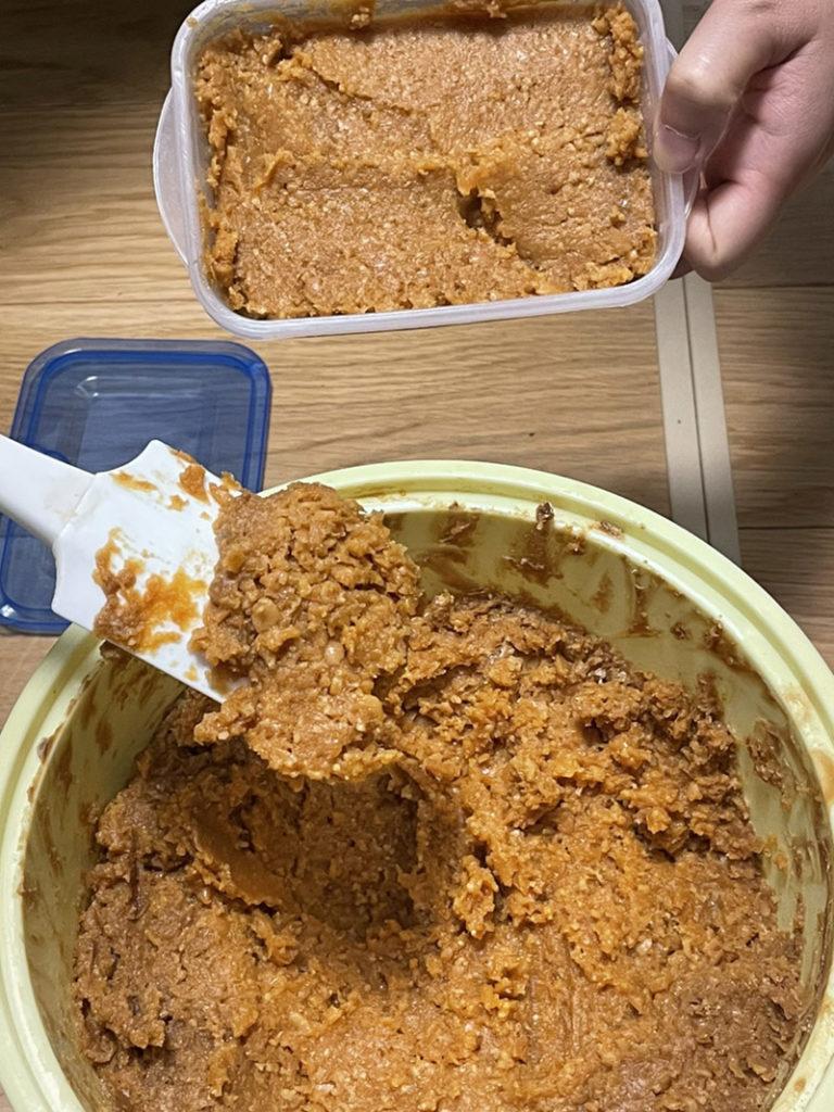 百川味噌の手作りセットの味噌が完成