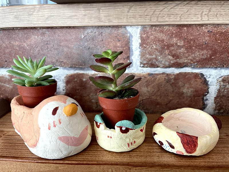 石粉粘土で作った多肉植物の鉢