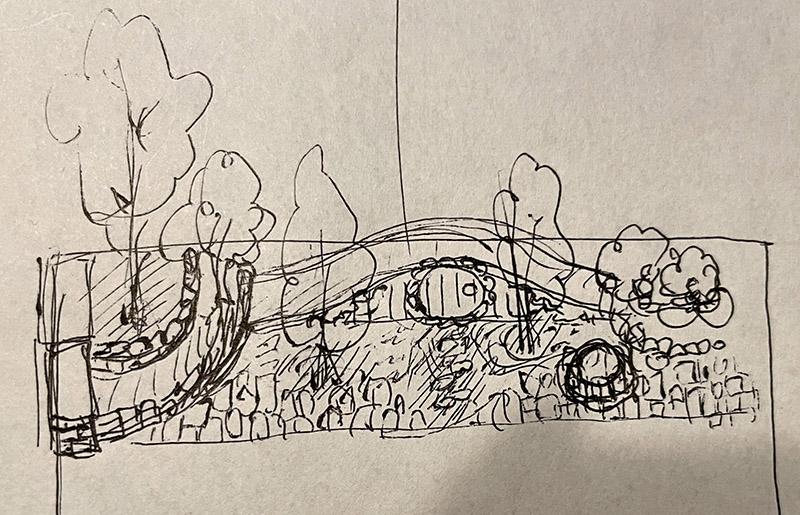 ホビットの家風の小屋がある庭のイメージ