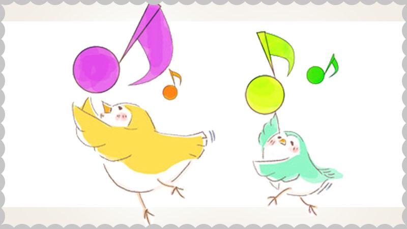 ノリノリの鳥のイラスト