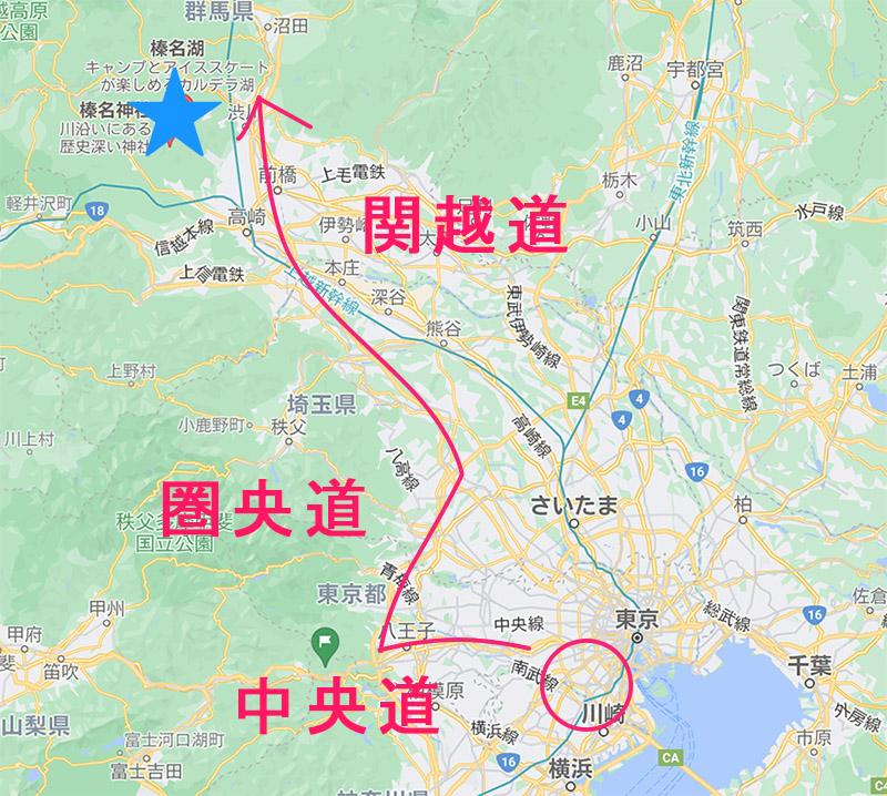 関東から日帰り旅行『榛名山~伊香保コース』のルート