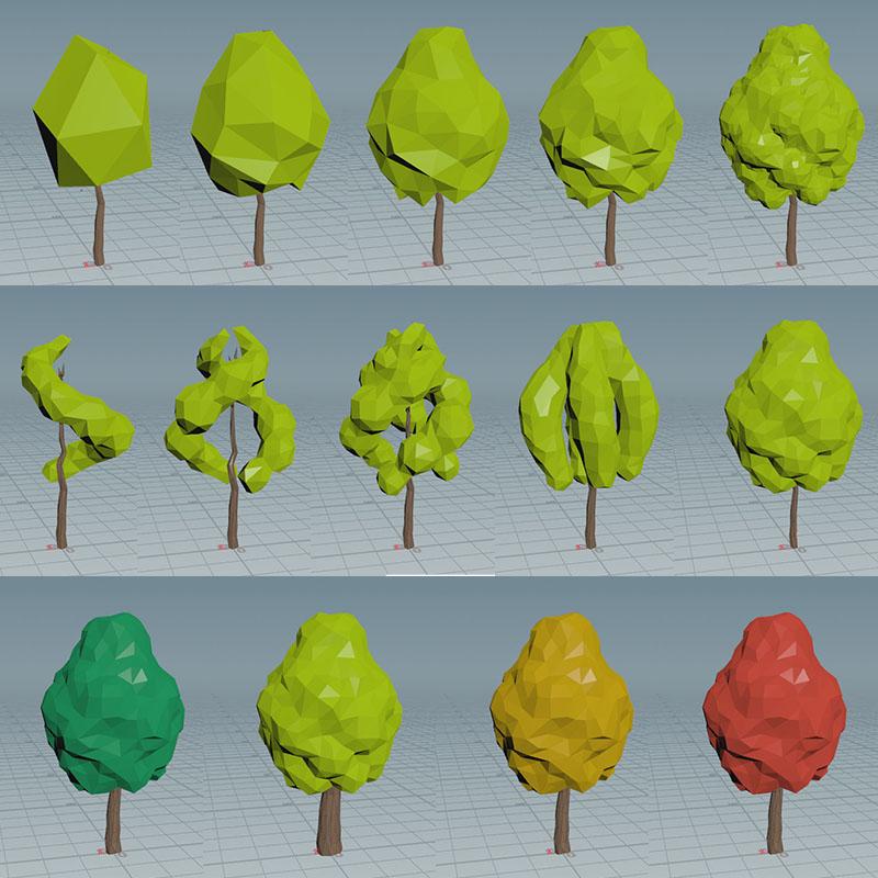 houdiniで作成した木のパターン