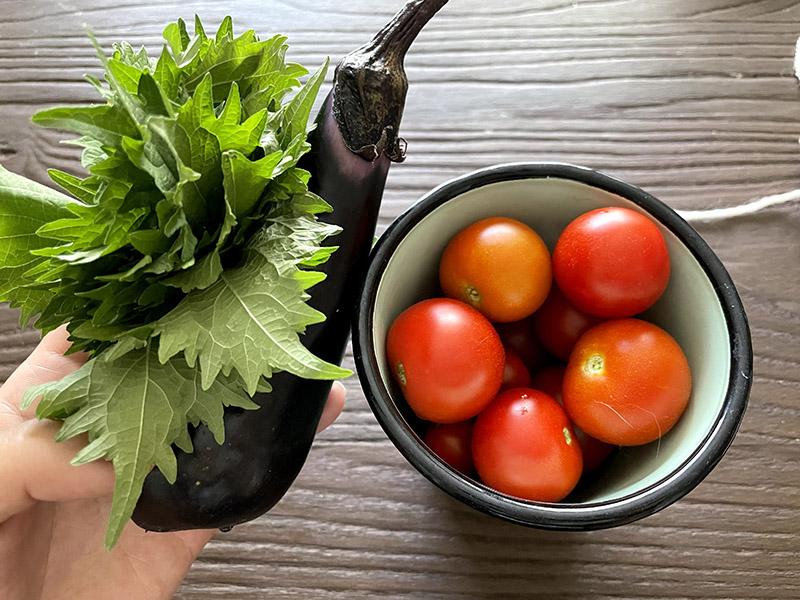 大葉と茄子とミニトマト